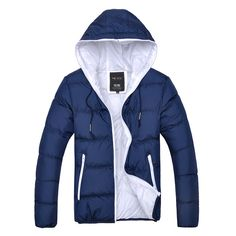 Doudoune Homme Parka Capuche Bicolore Urban jacket coat Fashion bleu fonce marine