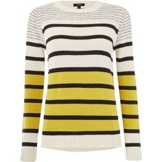 Therapy Stripe jumper (£40) ❤ liked on Polyvore featuring tops, sweaters, shirts, lime, women, thick knit sweater, striped jumper, cotton crew neck sweater, crewneck sweater and jumpers sweaters