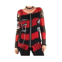 Crazyinlove femmes Gilet à Rayures Rouge et Noir - Tailles - Taille Unique