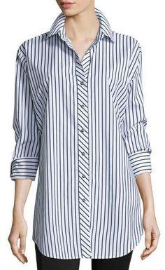 Go Silk Long-Sleeve Skinny-Striped Big Shirt, White/Black, Plus Size