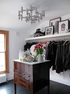 convert a small room into a walk-in closet.  Can store winter/summer clothes when out of season