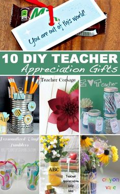 10+ Teacher Appreciation Gifts your child's teacher at school! Beautiful and practical easy craft ideas to show your teacher you appreciate them!