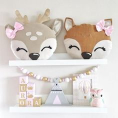 What animal and colors would you like to see as pillows? handmade kids nursery pillow deer fox fawn head kidsroom - Kids Pillows - Ideas of Kids Pillows Deer Pillow, Baby Pillows, Kids Pillows, Animal Pillows, Sewing Projects For Kids, Sewing For Kids, Sewing Toys, Baby Sewing, Cute Cushions