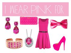 """""""I Wear Pink"""" by daniellevicente ❤ liked on Polyvore featuring Boohoo, Christian Louboutin, Miu Miu, Palm Beach Jewelry and Kate Spade"""