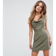 ASOS PETITE Cowl Neck Mini Dress ($45) ❤ liked on Polyvore featuring dresses, green, body con dress, tie back dress, zip bodycon dress, cowl neck mini dress and day to night dresses