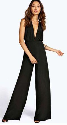 4fb0e9cad9857 Tanya Cross Back Soft Touch Wide Leg Jumpsuit Black Jumpsuit, Dungarees,  Dress Collection,