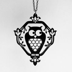 25 Whimsical Owl Necklace Black Acrylic Laser Cut by CABfayre