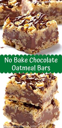 Easy No Bake Chocolate Oatmeal Bars Recipe - Maria's Kitchen Fun Desserts, Delicious Desserts, Easy Desserts To Bake, Baking Dessert Recipes, Bar Cookie Recipes, Easy Things To Bake, Easy Healthy Desserts, Bar Recipes, Healthy Recipes