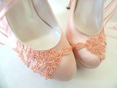 Peach Satin Embellished Lace Wedding Shoes | Etsy  blush bridal shoes with high heels, perfect romantic wedding shoes for a fairy tale wedding theme Blush Bridal Shoes, Satin Wedding Shoes, Wedding Heels, Lace Wedding, Wedding Rings Solitaire, Wedding Ring Bands, Colorful Wedding Shoes, Bridesmaid Shoes, Sweetheart Wedding Dress