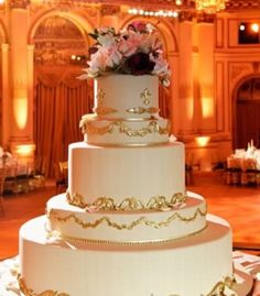 Gold embellished wedding cake