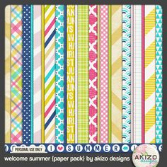 free download - patterns/papaer pack for digital scrapbooking | Welcome Summer Papers by akizo designs