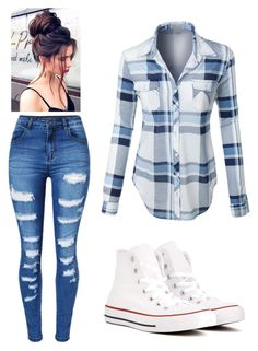 """""""Untitled #7"""" by amolamiavita on Polyvore featuring WithChic, LE3NO and Converse"""