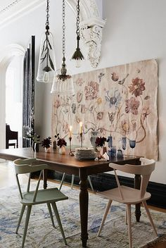 Dining table and wall tapestry
