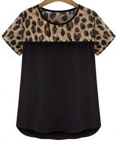 Summer Women blusas shirts Leopard Print Chiffon camiseta feminina short sleeve round neck Patchwork Top blusas plus size Leopard Print Shorts, Leopard Blouse, Leopard Top, Blouses For Women, T Shirts For Women, Plus Size Shorts, Print Chiffon, Casual T Shirts, Casual Tops