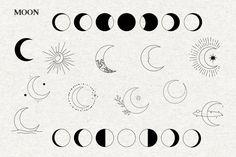 Mystical vector icons Moon and sun vector clipart moon | Etsy Moon Symbols, Zodiac Symbols, Mini Tattoos, Body Art Tattoos, Tatoos, Vector Clipart, Vector Icons, Spiritual Logo, Adobe Illustrator