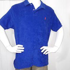 NWT Ralph Lauren Mens Sz XL S/S Custom Fit Spa Terry Polo Shirt Sapphire  Blue