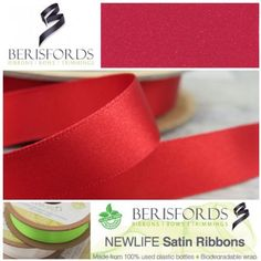 Made from Recycled Plastic bottles and to the same high quality of the world renowned Berisfords 3501 Satin ribbon. Ribbon Bows, Ribbons, World Crafts, How To Make Ribbon, Recycle Plastic Bottles, Red Satin, Recycling, Range, Colour