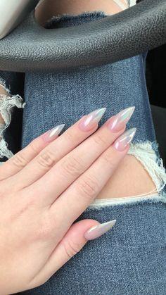 Metallic ombré stiletto nails – My CMS Acrylic Nails Natural, Best Acrylic Nails, Acrylic Nail Designs, Nail Art Orange, Cute Nails, Pretty Nails, Hair And Nails, My Nails, Nail Art Designs