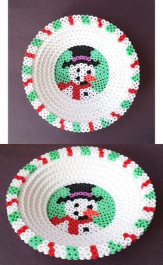 Round Perler 3D Christmas candy dish.
