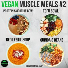 Vegan Muscle Meals by # Four meals high in calories & protein perfect for anyone training hard. # What are your favourite high protein vegan meals? High Protein Vegan Recipes, Best Protein, Vegan Protein, Protein Foods, Vegan Foods, Vegan Vegetarian, Vegetarian Recipes, Delicious Recipes, Treats