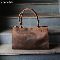 Chocolate Leather Market Bag by Stash Co.