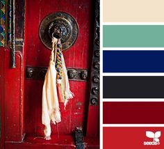 Charcoal, cherry red & clear royal blue provide a strong, assertive counterpoint to the more subtle seafoam, warm cream, & muted watermelon in this palette. Promising palette for a high Excellence value. Colour Pallette, Colour Schemes, Color Patterns, Color Combinations, Design Seeds, Colour Board, Color Swatches, Color Stories, Bedroom Colors
