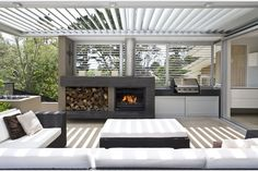 Get cooking on your awesome outdoor kitchen design ideas. See more ideas about outdoor kitchen design ideas, outdoor kitchen design plans, outdoor kitchen design for small space. Outdoor Areas, Outdoor Rooms, Outdoor Living, Outdoor Furniture Sets, Modern Outdoor Fireplace, Outdoor Kitchens, Outdoor Blinds, Outdoor Fireplaces, Alfresco Designs