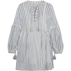 Ulla Johnson Helena striped cotton-gauze mini dress (1.350 RON) ❤ liked on Polyvore featuring dresses, striped dresses, stripe dress, blue white striped dress, mini slip dress and bohemian dresses