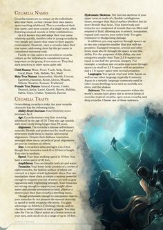 Homebrewing races DnD Homebrew Cacaelia Race by Absurdisan Dungeons And Dragons Races, Dungeons And Dragons Characters, Dungeons And Dragons Homebrew, Dnd Characters, Fantasy Characters, Magical Creatures, Fantasy Creatures, D D Races, Dnd 5e Races