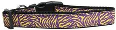 Purple and Yellow Tiger Stripes Nylon Dog Collar Large