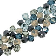 This mix combines the following colors: Light Grey Opal, Jet Hematite 2x, Indian Sapphire, Montana, and Black Diamond.