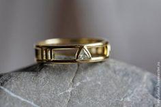 Золотое свадебное кольцо с 14к, Кольцо с римскими цифрами - золотой,обручальные кольца