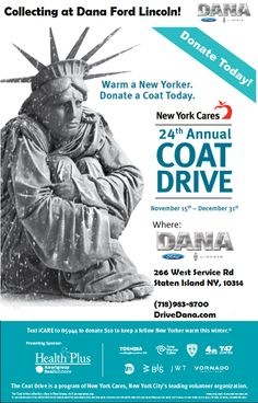 We are now collecting coats in our showroom for the New York Cares Coat Drive. #Drivedana #statenisland #newyork #nyc #coat #charity #donate #holidays