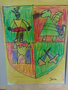 De kleuters ontwierpen zelf een wapenschild voor hun papa. Knight, Crafts For Kids, Castle, Dragon, Painting, Decoration, Artist's Book, Artists, Crests