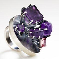 Ring | Joanna Gollberg. Oxidized sterling silver, amethyst, pink tourmaline