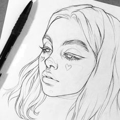 ideas drawing sketches easy inspiration for 2019 Pencil Sketches Easy, Pencil Art Drawings, Realistic Drawings, Easy Drawings, Drawing Faces, Pencil Sketching, Aesthetic Painting, Aesthetic Art, Aesthetic People