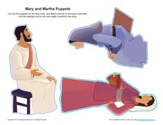 Mary and Martha Puppet Craft | Bible Crafts for Children                                                                                                                                                                                 More