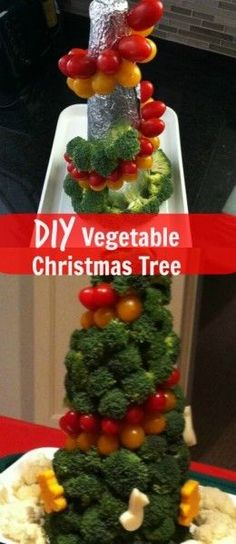 DIY Vegetable Christmas Tree for the holidays. Use your favorite veggies for a fun and edible centerpiece.