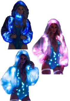 Light-up Tipped Fur Crop Jacket Rave Clothing, Festival Clothing, Festival Outfits, Future Fashion, Rave Outfits, Burning Man, Stage, Fur, Costumes
