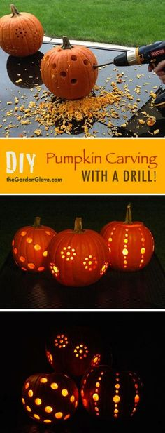 Use a drill for some unique and easy pumpkin carvings!