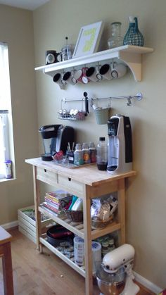 In-home coffee, soda stream, and beverage bar. In-home coffee, soda stream, and beverage bar. Coffee Station Kitchen, Coffee Bar Home, Home Coffee Stations, Coffee Corner, House Coffee, Ikea Forhoja, Coffee Bar Design, Coffee Carts, Coffee Shops