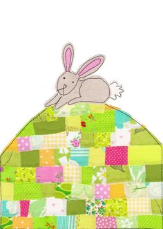 Bunny on patchwork hill - art print by SYKO