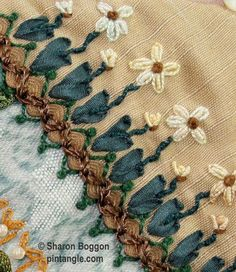 This is a hand embroidered seam on block 67 of the I dropped the button box Quilt. I first decorated the seam with some brown rid-rac, secured to the block with zig-zag chain stitch worked in a brown rayon thread. I next created the row of flowers using silk ribbon …  Continue reading →