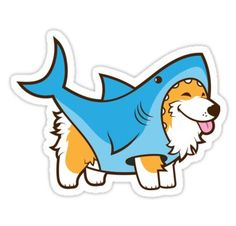 Draw Sharks Corgi In a Shark Suit Sticker - Shop from 1000 unique Animal Stickers on Redbubble. Buy get off! Perfect to stick on lapto. Stickers Cool, Bubble Stickers, Printable Stickers, Laptop Stickers, Cute Drawings, Animal Drawings, Corgi Drawing, Homemade Stickers, Cute Shark