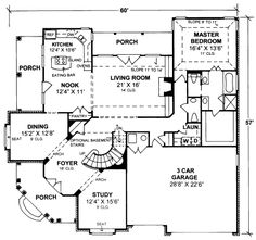 Farmhouse Style House Plan 68495 with 3188 Sq Ft, 4 Bed, 3 Bath, 1 Half Bath Dream Home Design, House Design, Living Room Nook, I Love House, House Map, American Houses, New Home Designs, Finding A House, Country Farmhouse