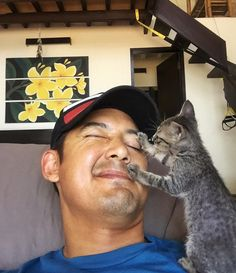 "This man never thought he would be a cat person until a tiny fur baby chose him and changed his life forever.Meet Nala the kitten and her forever cat dad! Courtesy: Marc Nelson @marcnelsonMarc Nelson found a tiny motherless kitten in Aklan, Philippines. ""I dropped by my neighbor..."