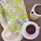 city towel - kitchen - hand drawn urban scene scattered with delicious lime green rooftops. so cute