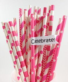25 Bright Pink Paper Straw Mix Girl Baby Shower by ThePinkPicker, $3.95