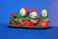 Cute Vintage Pipe Cleaner Knee Hugger Elf Christmas Figures