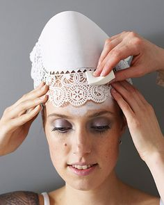 this is actually a makeup idea-- when you remove the doily, there's a pattern in the makeup